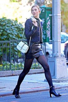Karlie Kloss - Leather Mini Skirt
